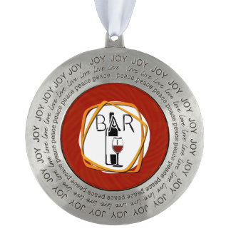 Illustration Glass of Wine in a bar Round Pewter Ornament