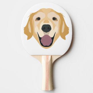 Illustration Golden Retriever Ping-Pong Paddle
