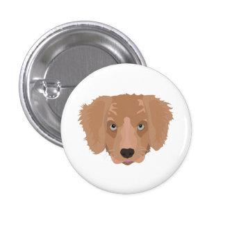 Illustration Golden Retriever Puppy 1 Inch Round Button