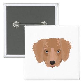 Illustration Golden Retriever Puppy 2 Inch Square Button