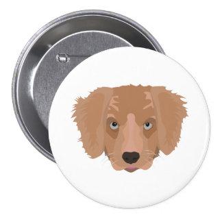 Illustration Golden Retriever Puppy 3 Inch Round Button