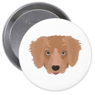 Illustration Golden Retriever Puppy 4 Inch Round Button