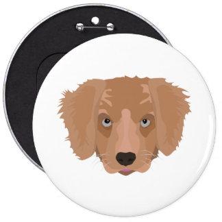 Illustration Golden Retriever Puppy 6 Inch Round Button