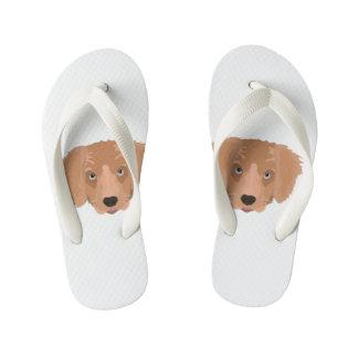 Illustration Golden Retriever Puppy Kid's Flip Flops