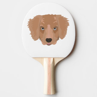 Illustration Golden Retriever Puppy Ping-Pong Paddle