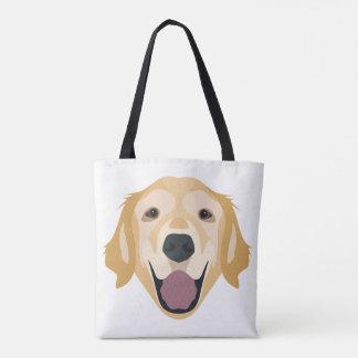 Illustration Golden Retriever Tote Bag