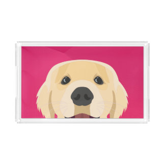 Illustration Golden Retriver with pink background Acrylic Tray
