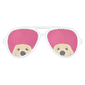 Illustration Golden Retriver with pink background Aviator Sunglasses