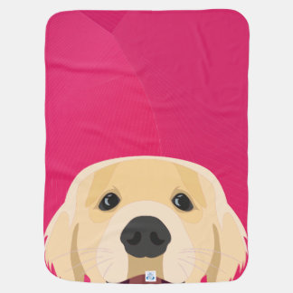 Illustration Golden Retriver with pink background Baby Blanket