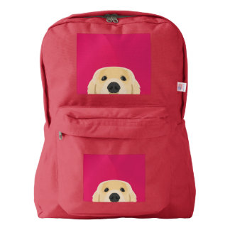 Illustration Golden Retriver with pink background Backpack
