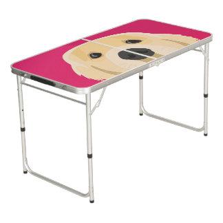 Illustration Golden Retriver with pink background Beer Pong Table