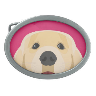 Illustration Golden Retriver with pink background Belt Buckle