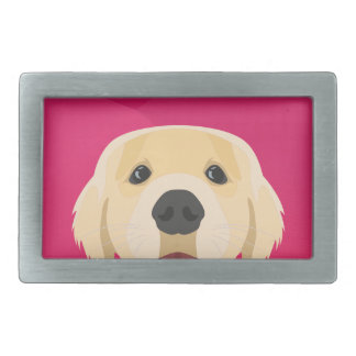 Illustration Golden Retriver with pink background Belt Buckles