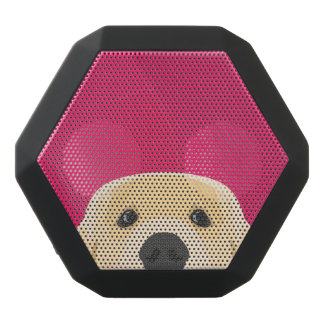 Illustration Golden Retriver with pink background Black Bluetooth Speaker