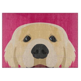 Illustration Golden Retriver with pink background Boards