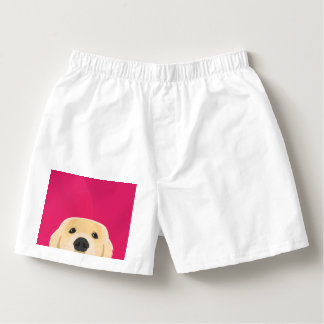 Illustration Golden Retriver with pink background Boxers
