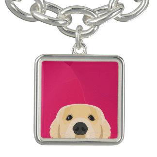 Illustration Golden Retriver with pink background Bracelets