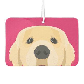 Illustration Golden Retriver with pink background Car Air Freshener