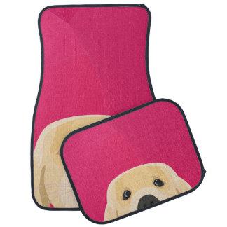 Illustration Golden Retriver with pink background Car Mat