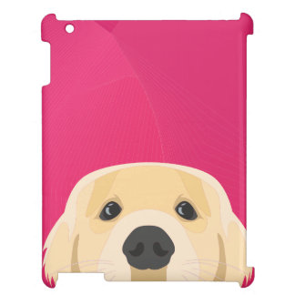 Illustration Golden Retriver with pink background Case For The iPad