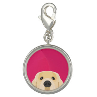 Illustration Golden Retriver with pink background Charm