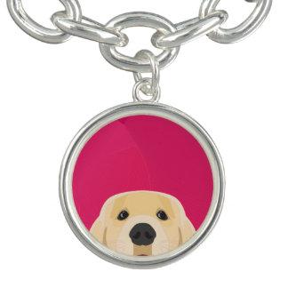 Illustration Golden Retriver with pink background Charm Bracelets