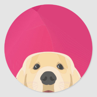Illustration Golden Retriver with pink background Classic Round Sticker
