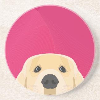 Illustration Golden Retriver with pink background Coaster