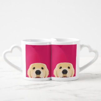 Illustration Golden Retriver with pink background Coffee Mug Set