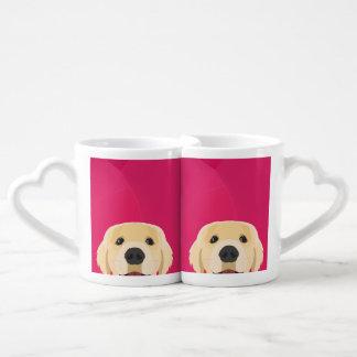 Illustration Golden Retriver with pink background Coffee Mug Set
