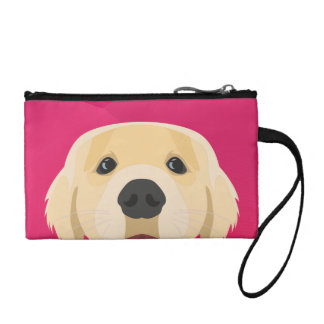 Illustration Golden Retriver with pink background Coin Purse