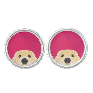 Illustration Golden Retriver with pink background Cufflinks