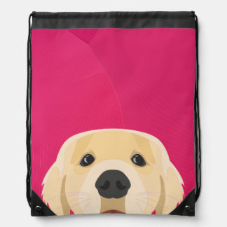 Illustration Golden Retriver with pink background Drawstring Bag