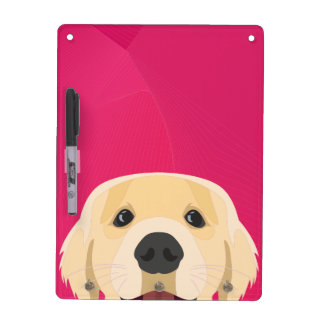 Illustration Golden Retriver with pink background Dry Erase Board