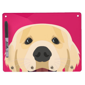 Illustration Golden Retriver with pink background Dry Erase Board With Keychain Holder