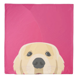 Illustration Golden Retriver with pink background Duvet Cover