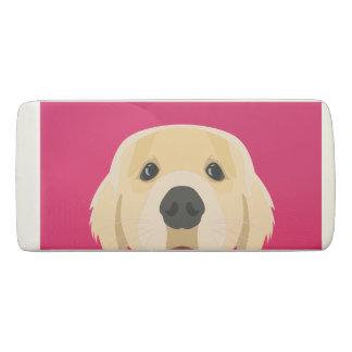 Illustration Golden Retriver with pink background Eraser