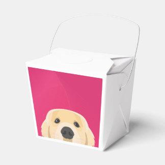 Illustration Golden Retriver with pink background Favor Box