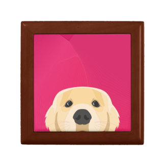 Illustration Golden Retriver with pink background Gift Box