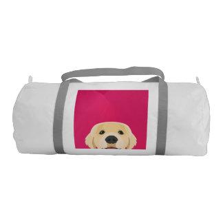 Illustration Golden Retriver with pink background Gym Bag