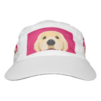 Illustration Golden Retriver with pink background Hat
