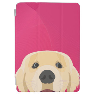 Illustration Golden Retriver with pink background iPad Air Cover