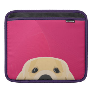 Illustration Golden Retriver with pink background iPad Sleeve