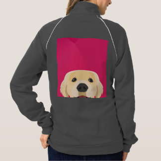 Illustration Golden Retriver with pink background Jacket