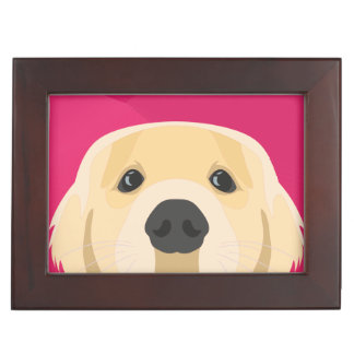 Illustration Golden Retriver with pink background Keepsake Box