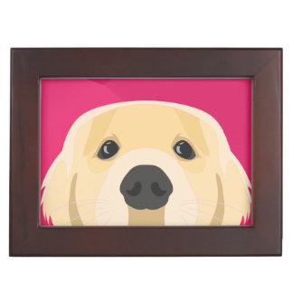 Illustration Golden Retriver with pink background Keepsake Box