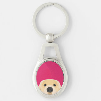 Illustration Golden Retriver with pink background Keychain