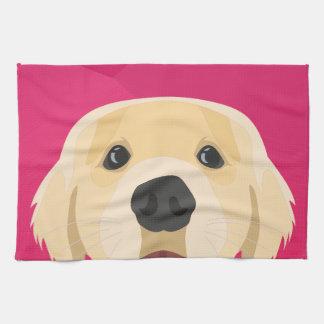 Illustration Golden Retriver with pink background Kitchen Towel