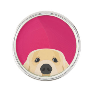 Illustration Golden Retriver with pink background Lapel Pin