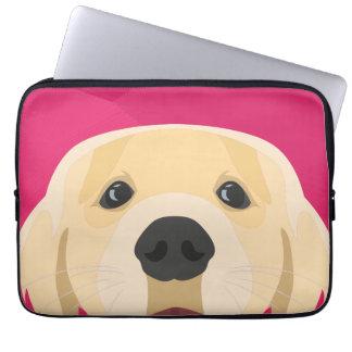 Illustration Golden Retriver with pink background Laptop Sleeve